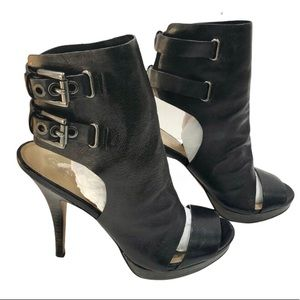 Coach Analeigh Black Leather Sandal Ankle Bootie